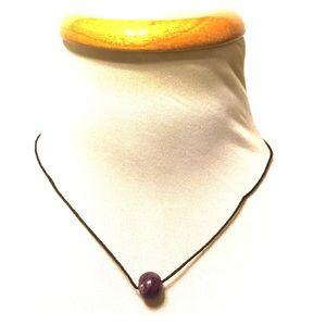 Boho Inspired Hemp Cord Choker with Glass Bead